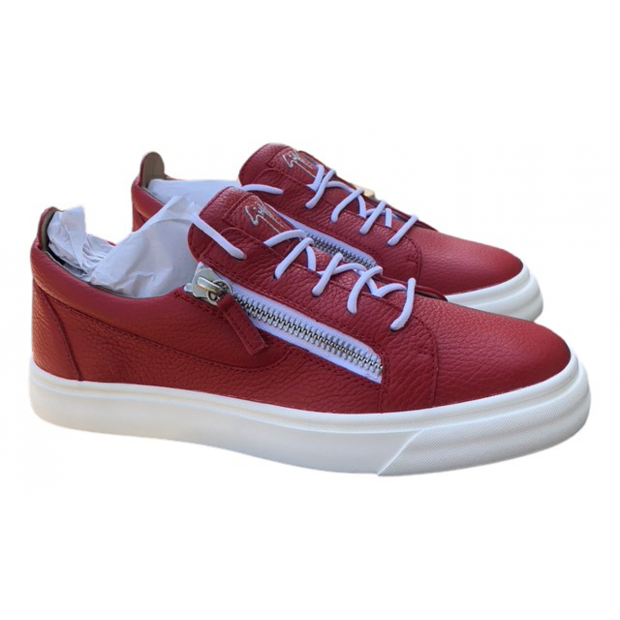 Giuseppe Zanotti N Red Leather Trainers for Men 42 IT
