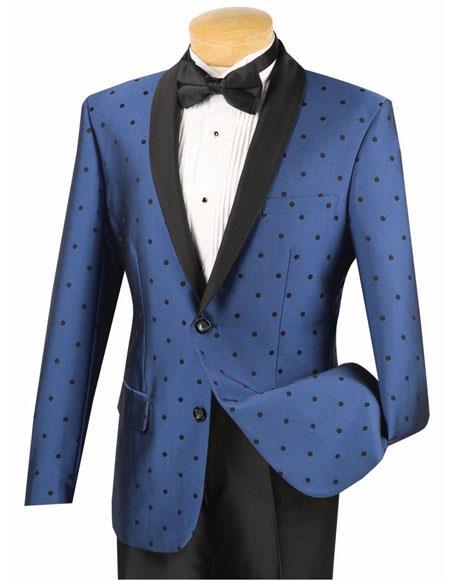 Mens Blue 2Button Single Breasted Slim Fit Dot Shawl Lapel Tuxedo Suit