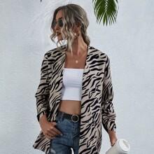 Zebra Stripe Open Front Coat