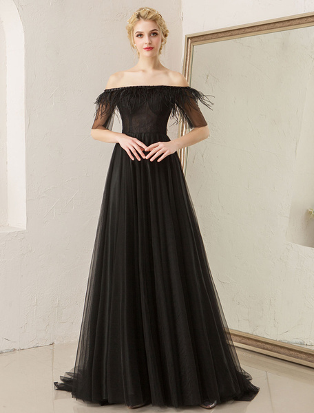 Milanoo Prom Dresses Off Shoulder Black Evening Dress Feathers Tulle Half Sleeve Formal Gowns With Train