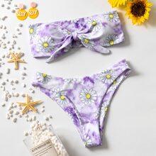 Floral & Tie Dye Knot Front Bandeau Bikini Swimsuit