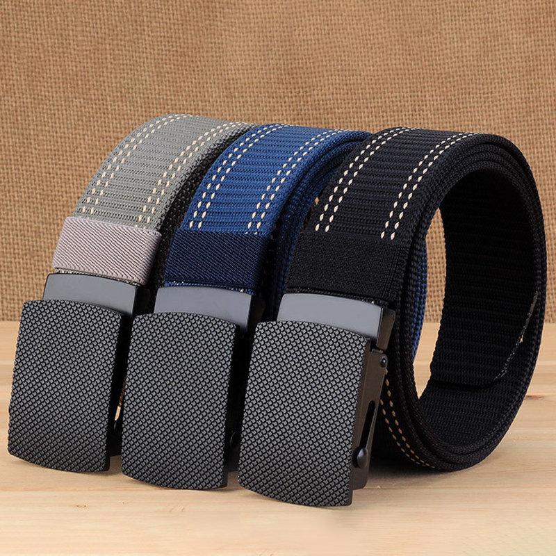 Mens Long Weave Canvas Web Elasticity Belt Outdoor Slider Buckle Durable Adjustable Plate Belt
