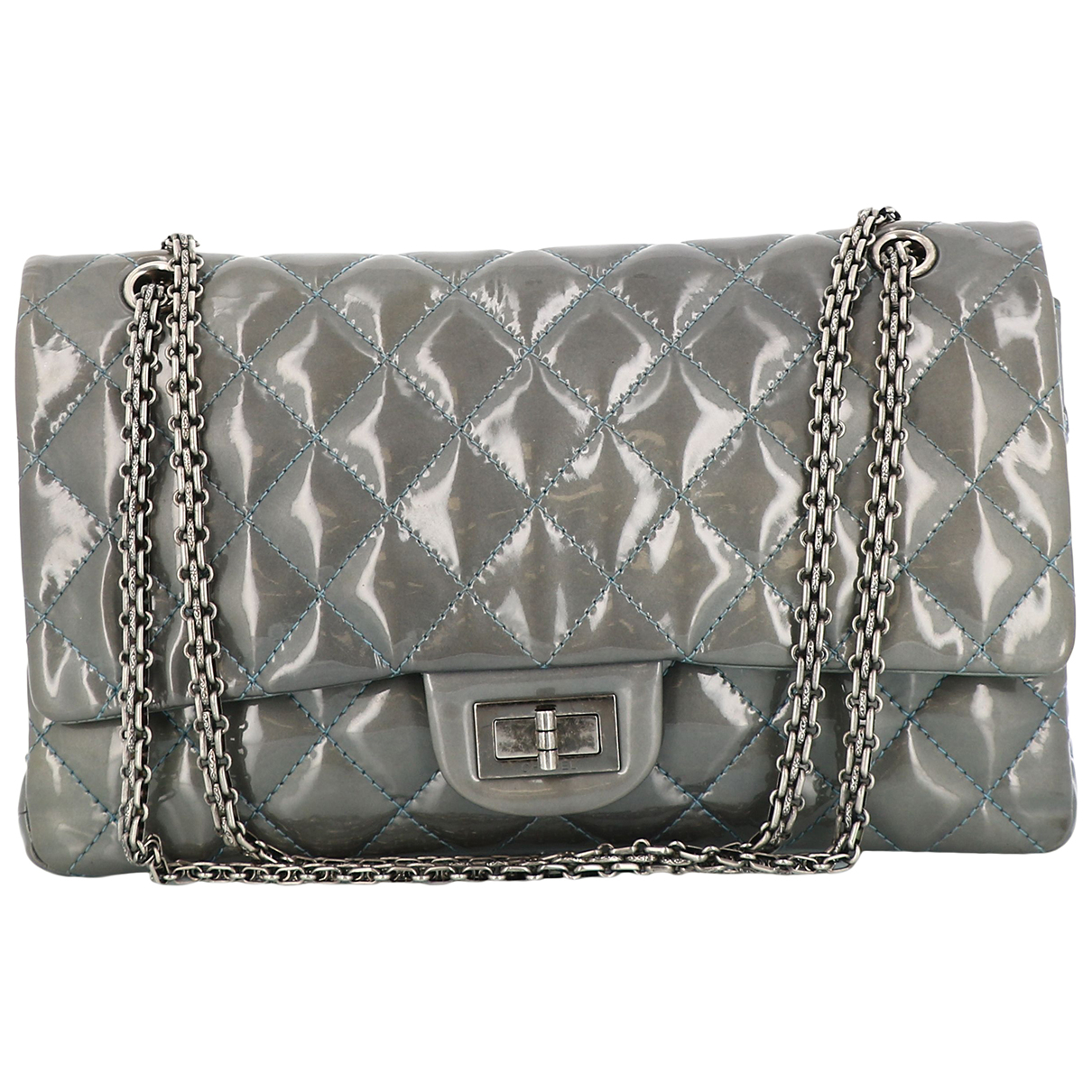 Chanel 2.55 Handtasche in  Grau Lackleder