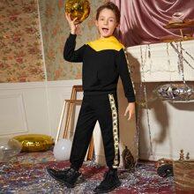 Boys Color Block Contrast Side Seam Hoodie & Sweatpants Set
