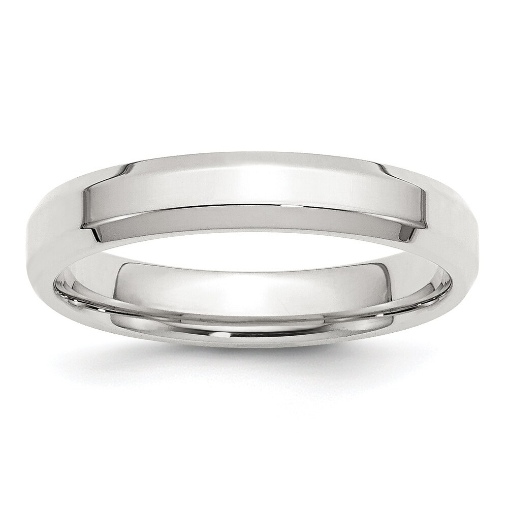 Sterling Silver 4mm Bevel Edge Band - White by Versil (7.5)
