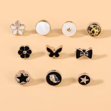 10pcs Star Flower Brooch