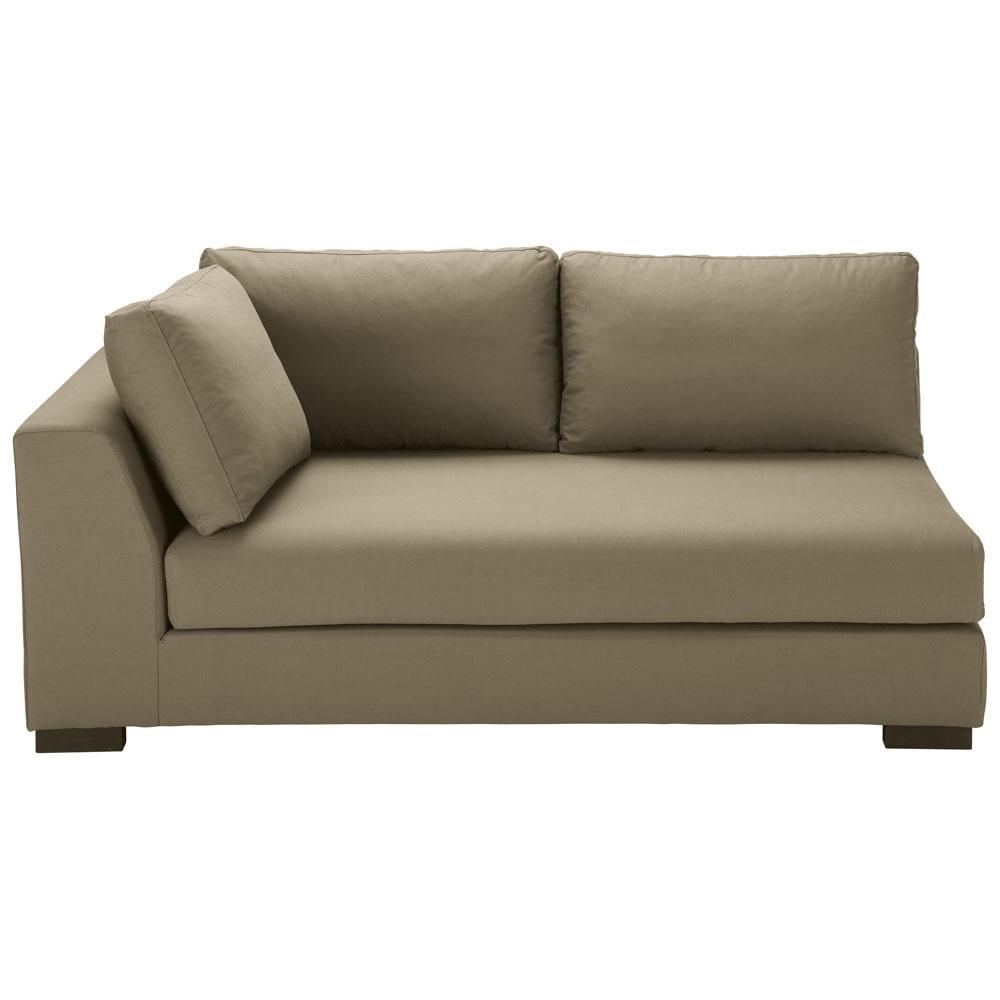 Ausziehbares modulares Sofa mit linker Armlehne aus Baumwolle taupe Terence