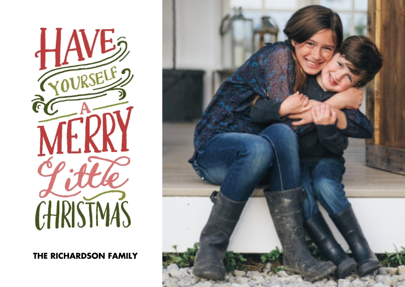 Christmas Photo Cards 5x7 Cards, Standard Cardstock 85lb, Card & Stationery -Christmas Merry Little Colorful