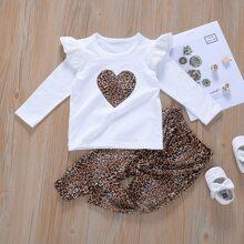 T-Shirt mit Leopard, Herzen Muster und Hose