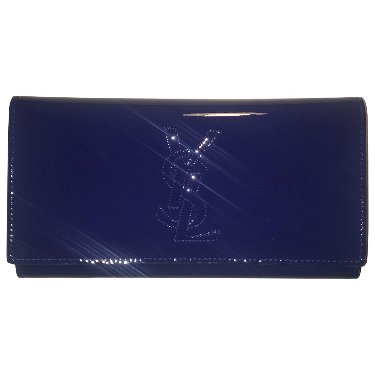 Yves Saint Laurent Belle de Jour Portemonnaie in  Blau Lackleder