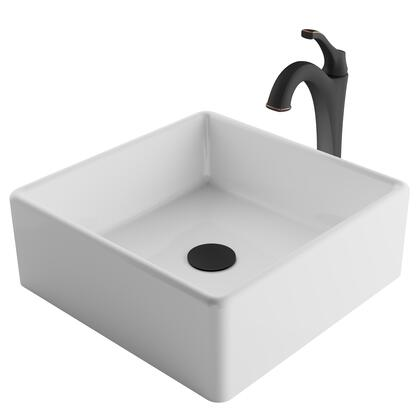 C-KCV-120-1200ORB Elavo Series 15 Square White Porcelain Ceramic Bathroom Vessel Sink and Arlo Faucet Combo Set with Pop-Up Drain  Oil Rubbed Bronze