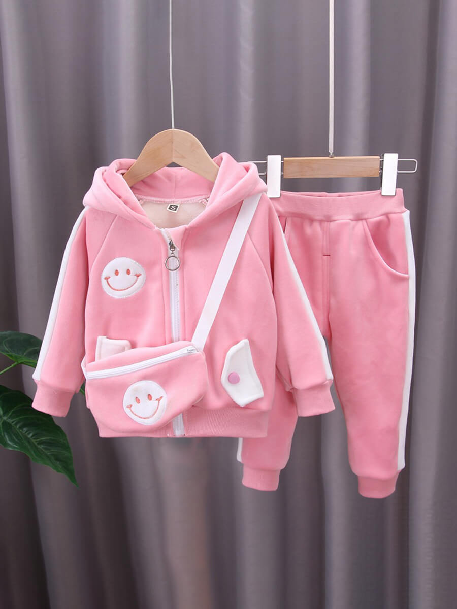 LW Lovely Sportswear Hooded Collar Cartoon Pink Girl Two-piece Pants Set
