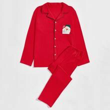 Schlafanzug Set mit Weihnachten Muster und Kontrast Paspel