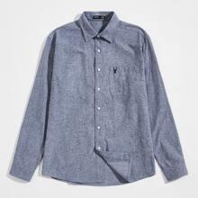 Men Elk Embroidered Patch Pocket Shirt