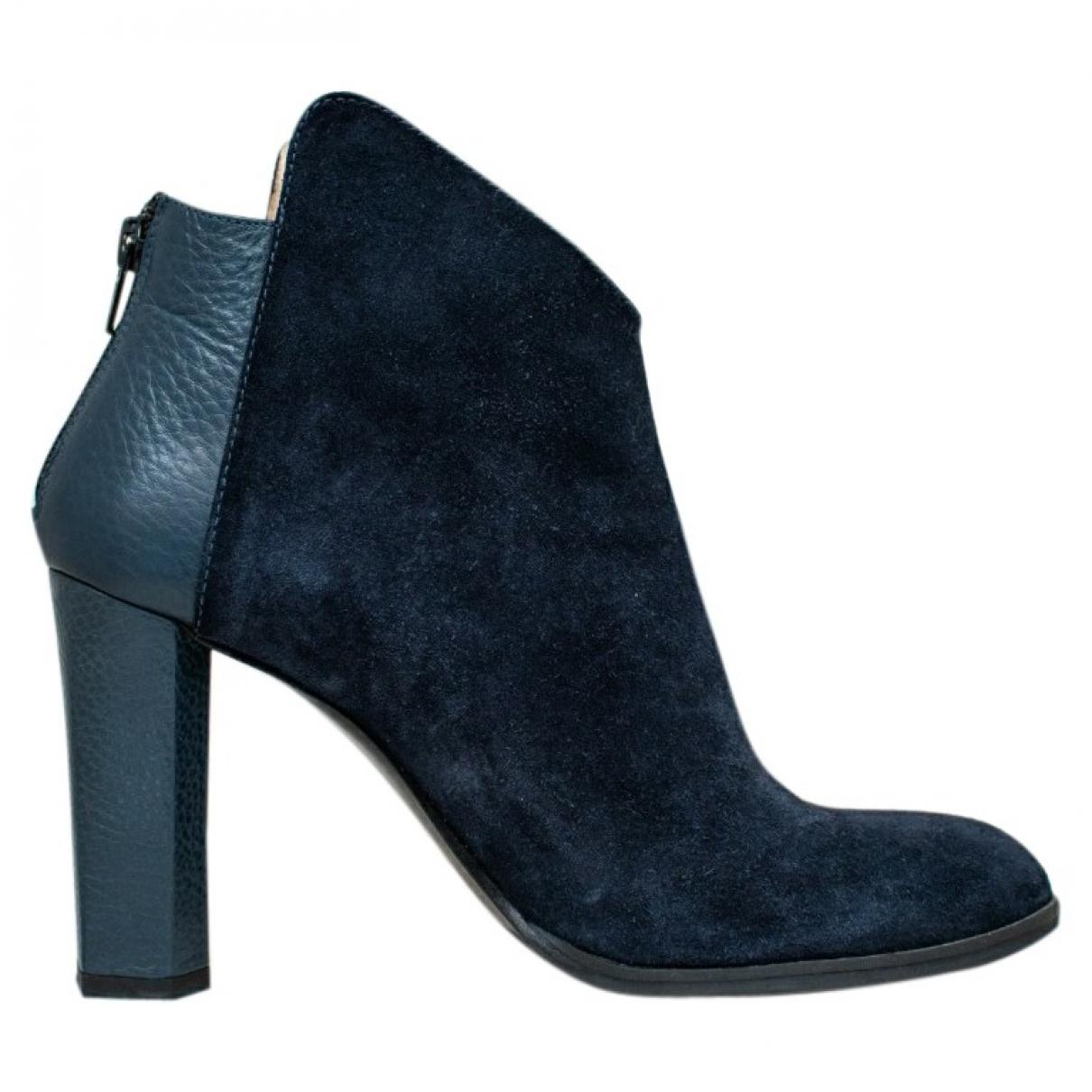 - Boots   pour femme en cuir verni - bleu