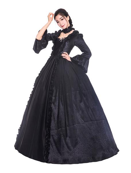 Milanoo Disfraz Halloween Disfraces retro negros con volantes de saten mate de estilo victoriano de Halloween Vestido Mujer Ropa vintage Carnaval Hall