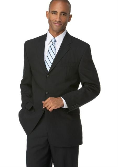 Mens Black 3 Button Polyester affordable suit online sale