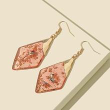 Geometric Golden Foil Decor Drop Earrings