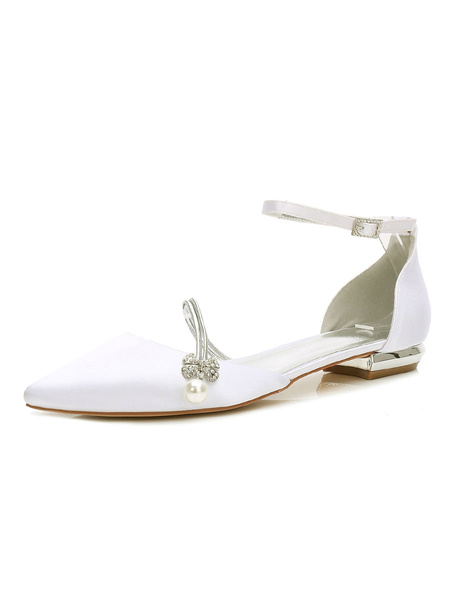 Milanoo Satin Wedding Shoes White Bridesmaid Shoes Pointed Toe Rhinestones Flat Bridal Shoes