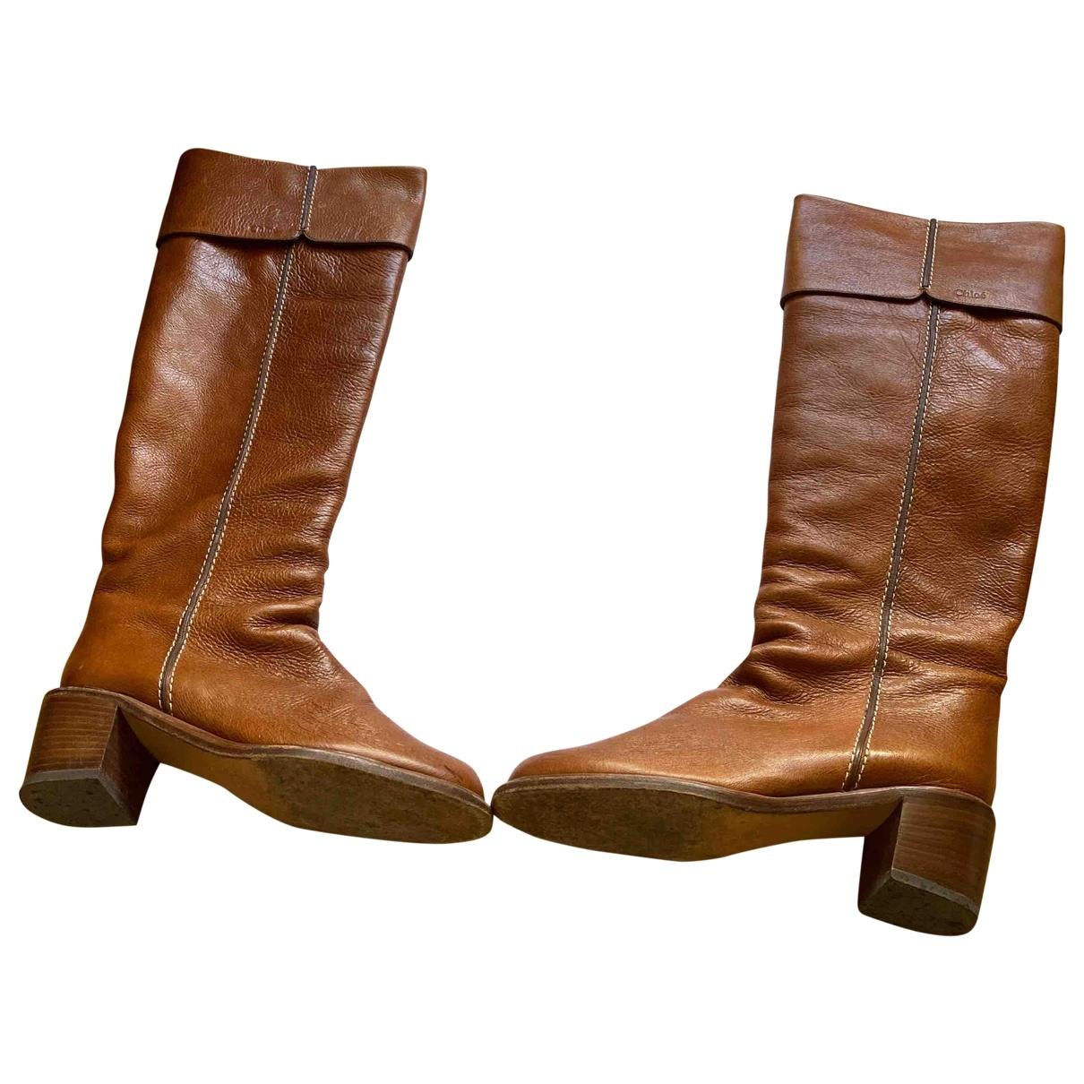 Chloe - Bottes   pour femme en cuir - marron