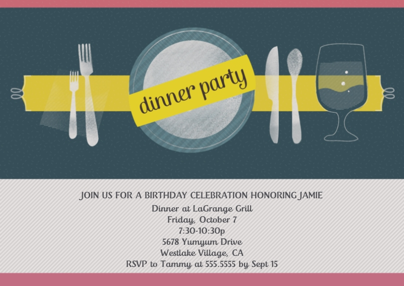 Birthday Party Invites 5x7 Cards, Premium Cardstock 120lb, Card & Stationery -Birthday Dinner Party