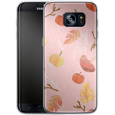Samsung Galaxy S7 Edge Silikon Handyhuelle - Foliage Pink Woodland von Mukta Lata Barua