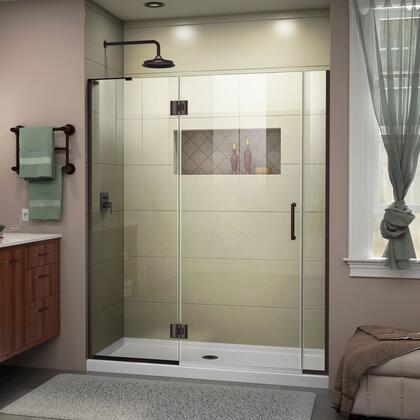 D32506572R-06 Unidoor-X 55 1/2-56 W X 72 H Frameless Hinged Shower Door In Oil Rubbed
