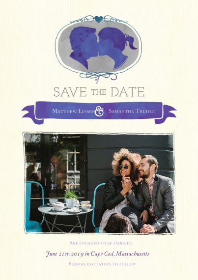 Save the Date 5x7 Cards, Premium Cardstock 120lb with Scalloped Corners, Card & Stationery -Silhouette Save the Date