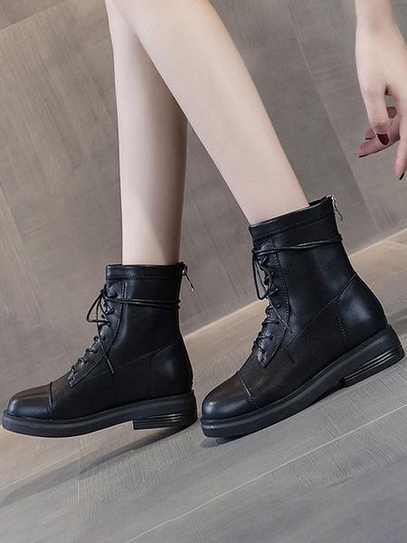 Milanoo Botas de tobillo para mujer Botas de cordones planas con punta puntiaguda negra de cuero PU