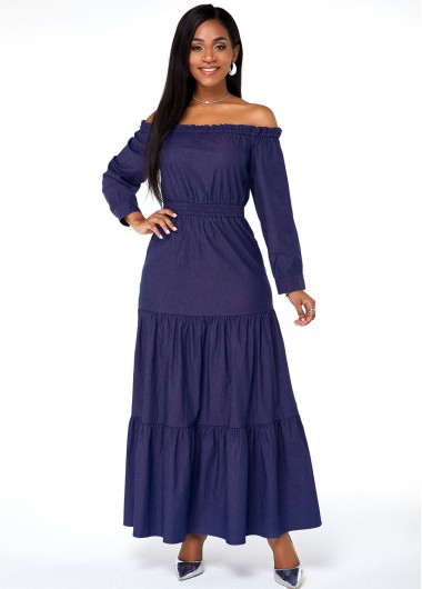 Cocktail Party Dress Faux Denim Off the Shoulder Long Sleeve Maxi Dress - S