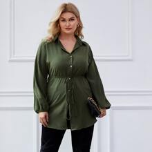 Plus Button Front Lantern Sleeve Belted Longline Blouse