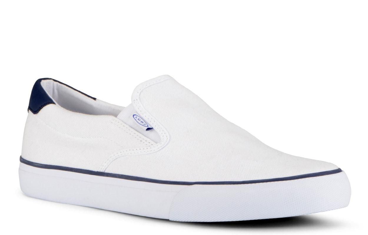 Men's Clipper Slip-On Sneaker (Choose Your Color: WHITE/PEACOAT BLUE, Choose Your Size: 11.0)