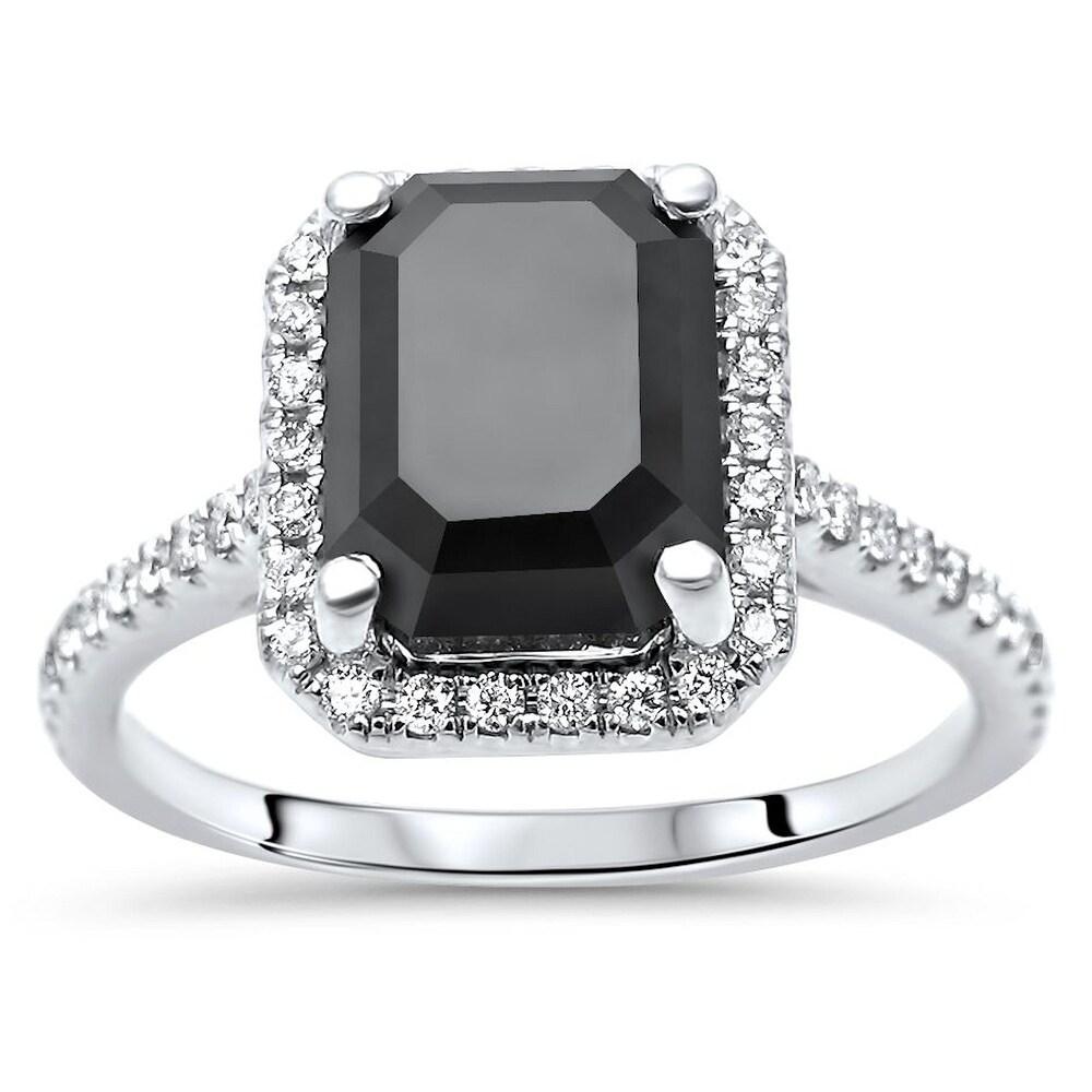 14k White Gold 3.50ct Emerald Cut Black Diamond Halo Engagement Ring (6)