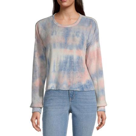 Arizona Juniors-Womens Crew Neck Long Sleeve Tie-dye T-Shirt, Xx-large , Blue
