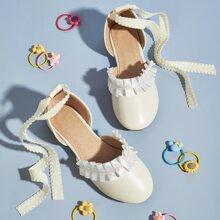Toddler Girls Ruffle Trim Tie Leg Flats