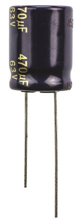 Panasonic 470μF Electrolytic Capacitor 63V dc, Through Hole - EEUFC1J471 (5)