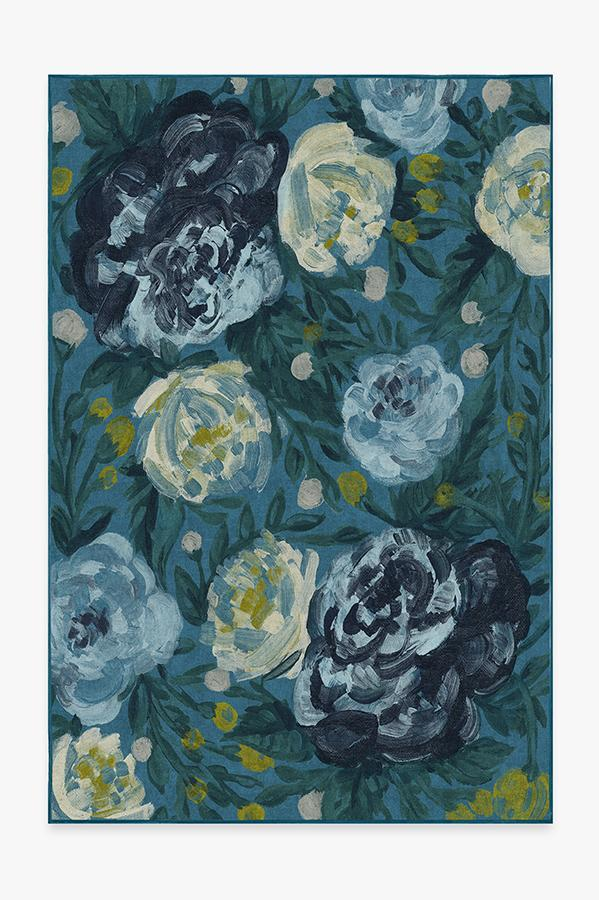 Washable Rug Cover & Pad | Camellia Midnight Rug | Stain-Resistant | Ruggable | 6x9