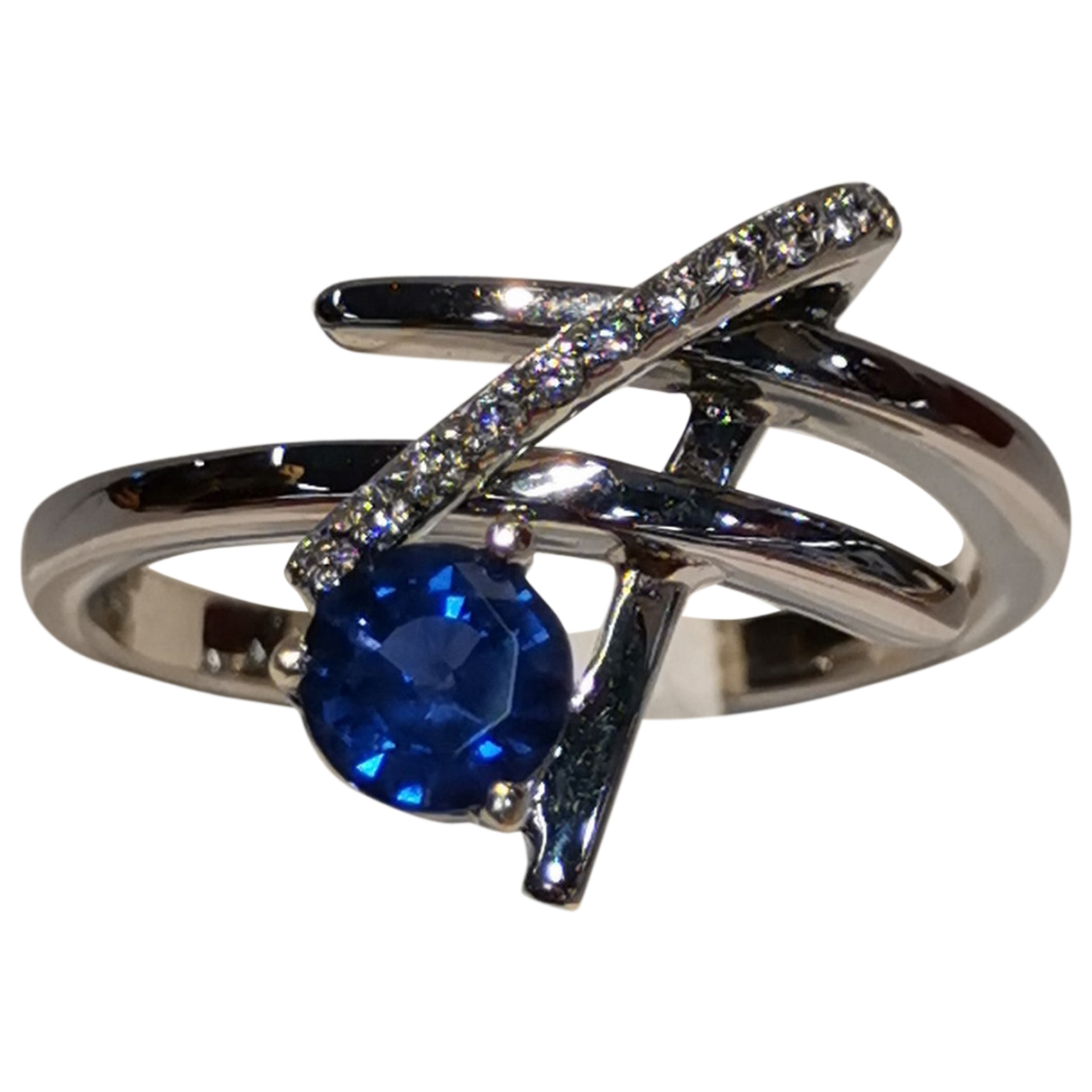 Non Signe / Unsigned Saphir Ring in  Grau Weissgold