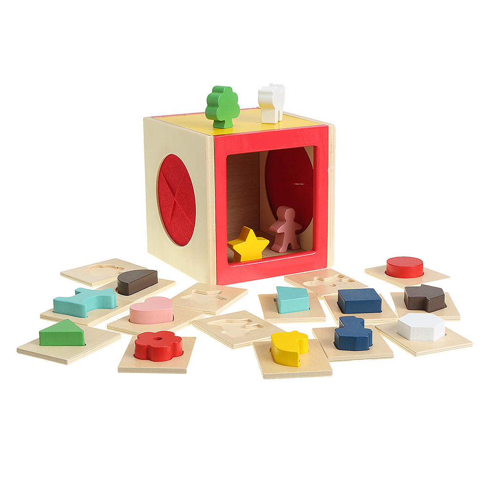 Kids Memory Training Blind Box Color Cube Jigsaw Puzzle Box Wooden Guessing Toy