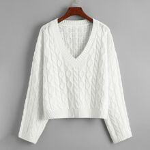 Cable-knit Drop Shoulder V-neck Sweater