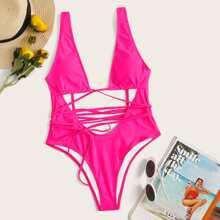 Neon Pink Tie Front One Piece Swimsuit