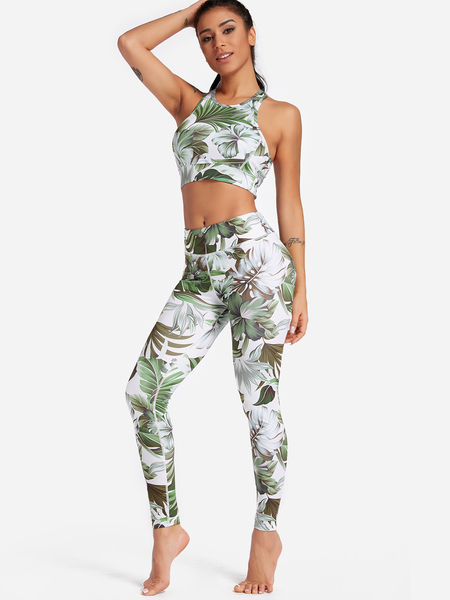 Yoins Green Leaf Print Crew Neck Sleeveless High-waisted Tracksuit