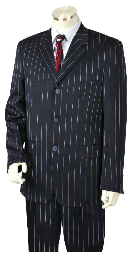 3 Button Suit Wide Leg Pants Wool feel Navy Blue Trousers Suit Jacket