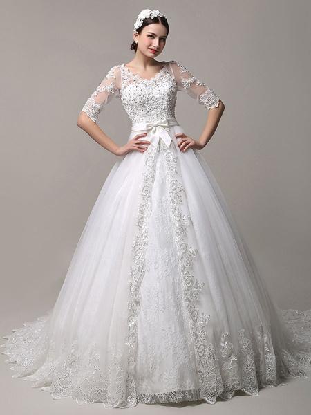 Milanoo Vestido de novia con cuello en V y lentejuelas