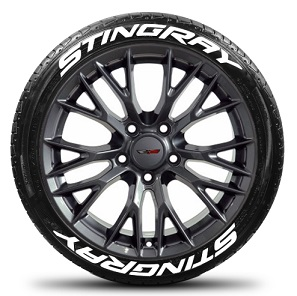 Tire Stickers STINGRAY-1718-1-8-W Permanent Raised Rubber Lettering 'Stingray' Logo - 8 of each -   17