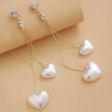 Pendientes con diamante de imitacion con corazon