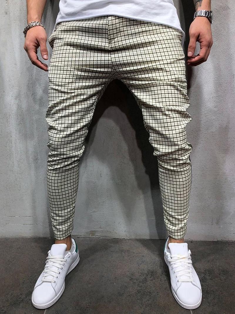 Ericdress Patchwork Pencil Pants Plaid Fall Mid Waist Casual Pants