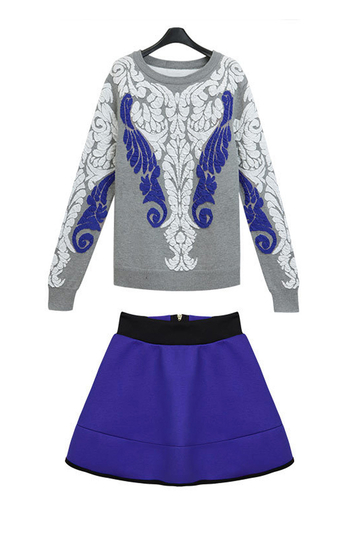 Yoins Plus Size Embroidered Knitted Jumper & A-line Skirt Co-ords