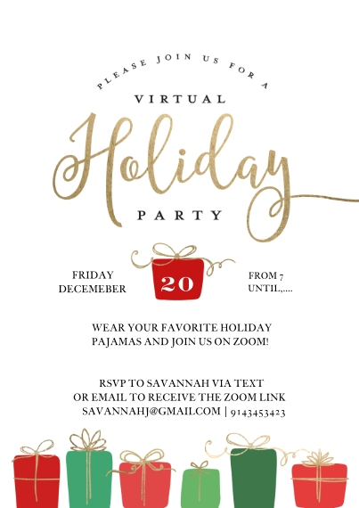 Christmas & Holiday Party Invitations 5x7 Cards, Premium Cardstock 120lb with Elegant Corners, Card & Stationery -Holiday Virtual Invite Gifts by Tumb