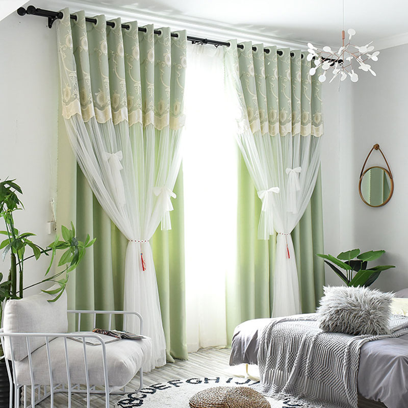 Princess Embroidery Flora Blackout Custom Curtain Sets for Living Room Bedroom 84W 84L 2 Panel Set